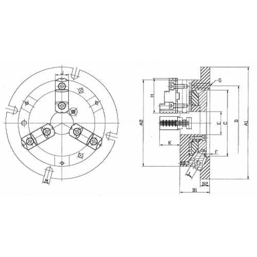 Stacionární tříčelisťové soustružnické sklíčidlo, extra tenké Ø 210