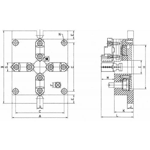 Stacionární čtyřčelisťové soustružnické sklíčidlo Ø165