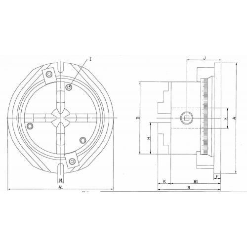 Čtyřčelisťové sklíčidlo sotočnou základnou 200 mm