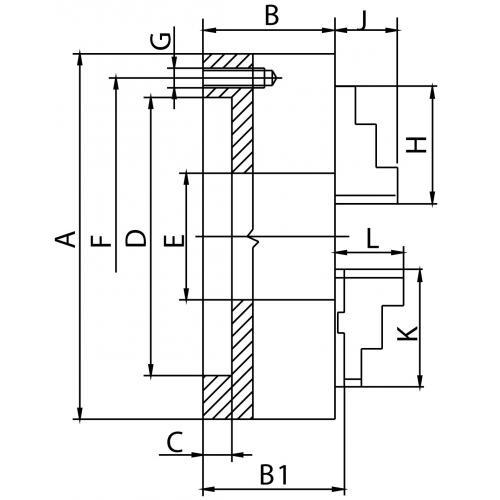 Čtyřčelisťové sklíčidlo 630 mm, litina, DIN 6350, jednodílné čelisti, válcové upnutí