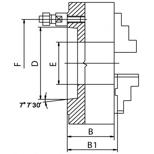 """Čtyřčelisťové sklíčidlo 250 mm, ocel, DIN 55029-6"""", jednodílné čelisti"""