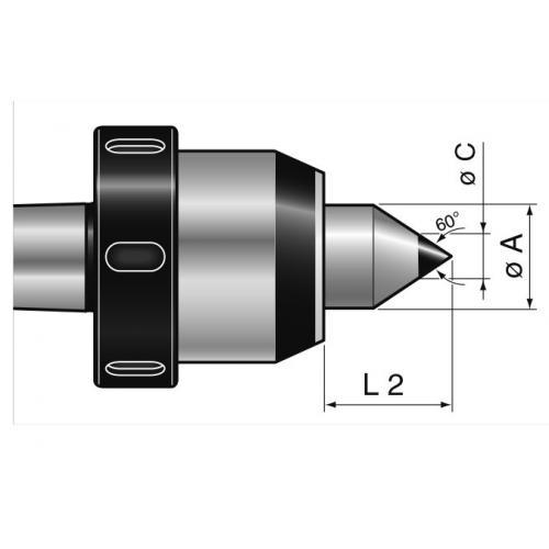 Otočný trn se stahovací maticí typ 160 skarbidovou špičkou, MT 3