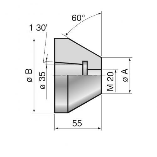Hlava středicího kuželu 45–98 mm