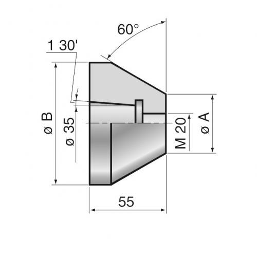 Hlava středicího kuželu 345–398 mm