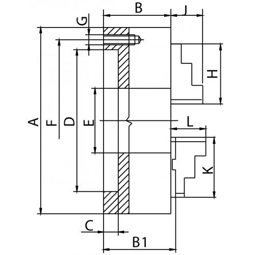 Dvoučelisťové sklíčidlo 200 mm, litina, DIN 6350, dělené čelisti, válcové upnutí