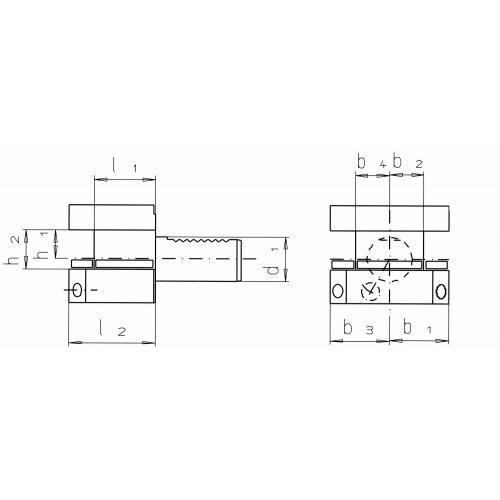 Čtyřhranný držák nástrojů, obrácený D2 – 50 x 32