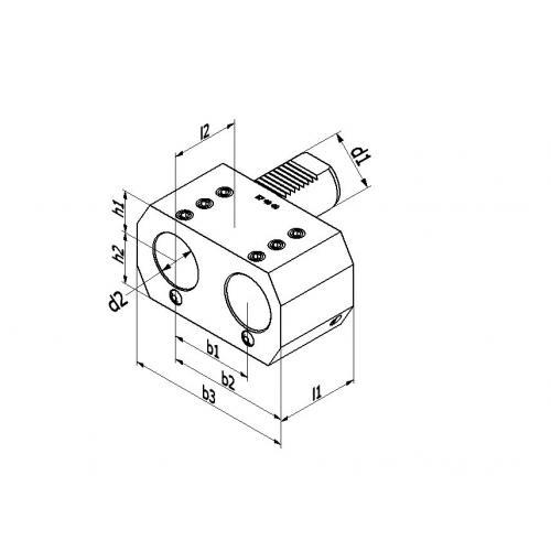 Dvojitý držák vrtací tyče, typ E7, VDI 20 Ø 20 mm