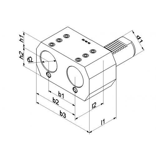 Dvojitý držák vrtací tyče, typ E8, VDI 20 Ø 16 mm