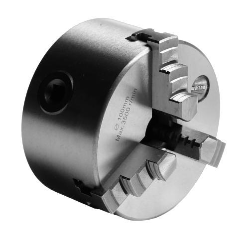 Tříčelisťové soustružnické klíčidlo MACK BASIC 400 mm, válcové upnutí, jednodílné čelisti, litina