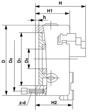 Čtyřčelisťové soustružnické klíčidlo MACK BASIC 200 mm, válcové upnutí, jednodílné čelisti, litina