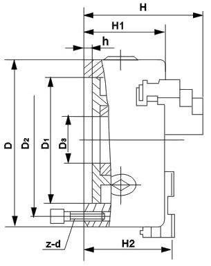 Čtyřčelisťové soustružnické klíčidlo MACK BASIC 250 mm, válcové upnutí, jednodílné čelisti, litina