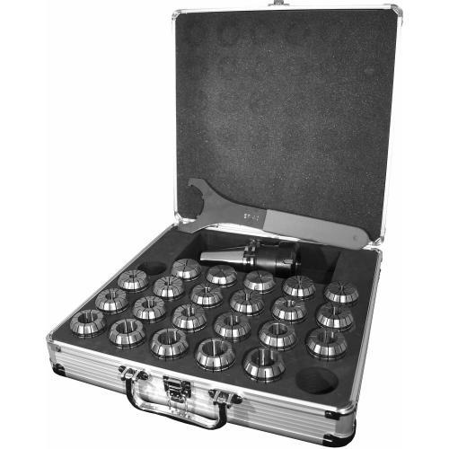 Hliníkové pouzdro se sklíčidlem SK40 DIN 2080 a kleštinami ER32