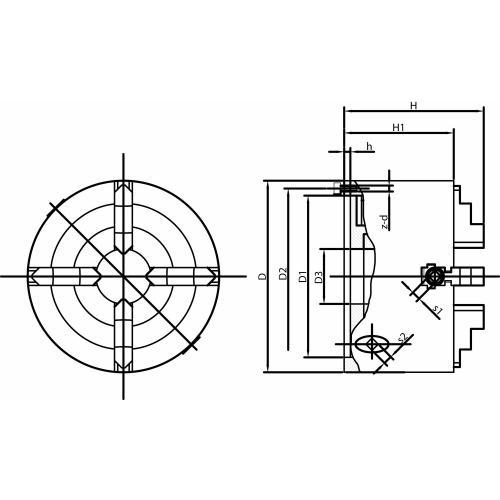 Čtyřčelisťové soustružnické sklíčidlo Wescott 250 mm, litina, válcové upnutí, jednodílné čelisti