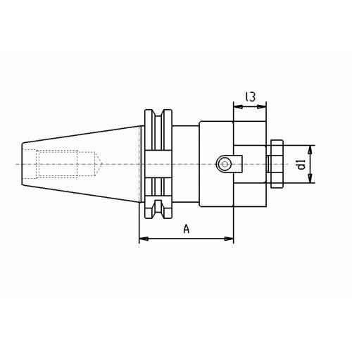 Držák čelní frézy DIN 69871, SK 40, Ø 22 x 160