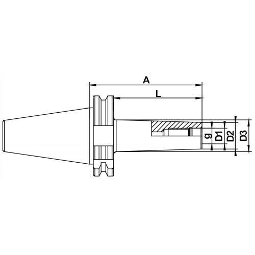 Frézovací trny, šroubovací, DIN 69871 AD/B, SK 40, M 8 x 50