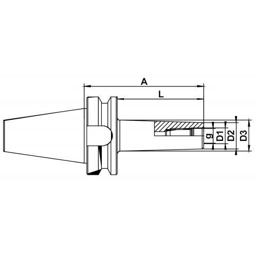 Frézovací trny, šroubovací, MAS-BT 40, M 16 x 150