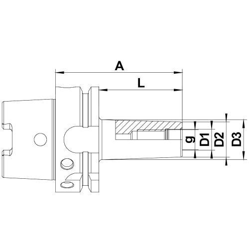 Frézovací trny, šroubovací, HSK-A 63, M 16 x 100