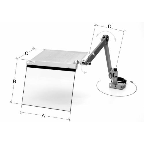Ochranný kryt koníku soustruhu 400 mm, max. 550 mm