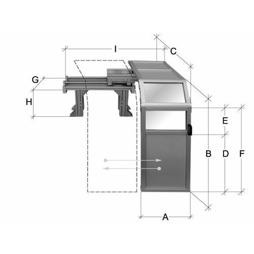 Posuvný ochranný kryt, výška 1000 mm
