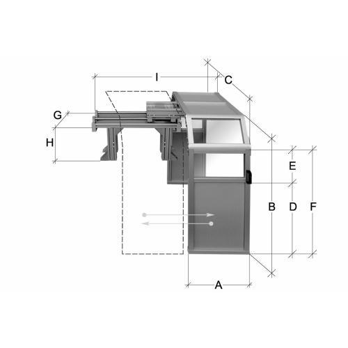 Posuvný ochranný kryt, oboustranný, výška 1000 mm