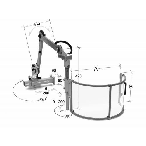 Nastavitelný ochranný kryt pro univerzální frézy 400 mm