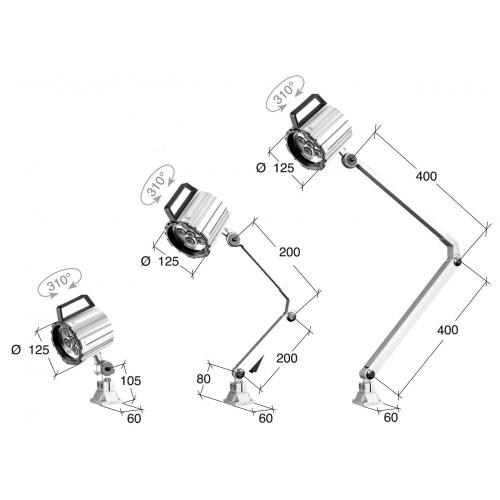 Pracovní světlo 24V, IP65, 400 + 400 mm