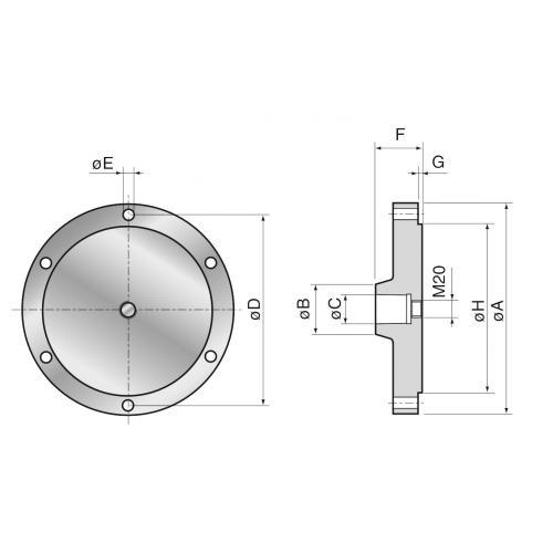 Příruba pro základní držák MT Ø 250