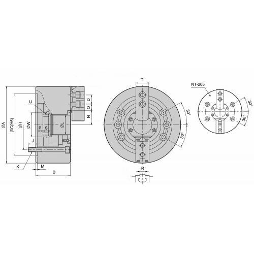 Dvoučelisťové silové sklíčidlo Ø 169, válcové upnutí, s otvorem, čelisti 1,5 x 60°