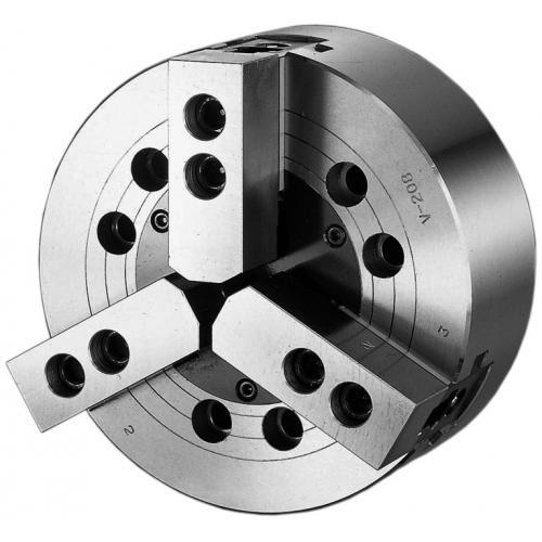 Tříčelisťové silové sklíčidlo Ø 304, A8, bez otvoru, čelisti 1,5 x 60°