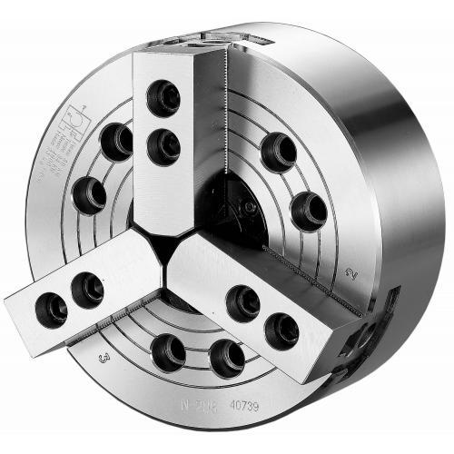 Tříčelisťové silové sklíčidlo Ø 304, A6, s otvorem, čelisti 1,5 x 60°