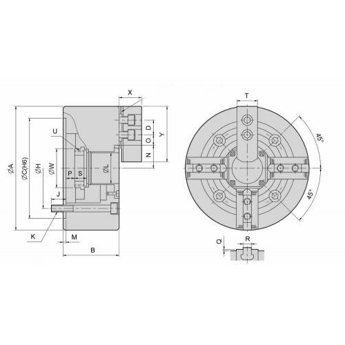Čtyřčelisťové silové sklíčidlo Ø 210, válcové, s otvorem, čelisti 1,5 x 60°