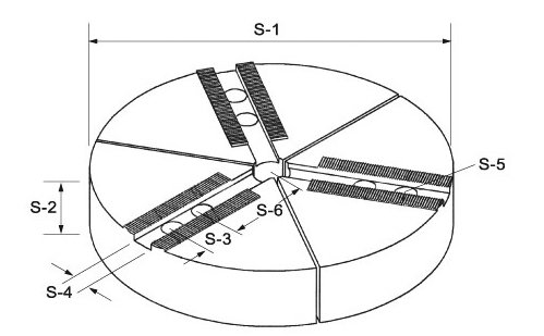 Sada 3 kulatých čelistí 1,5 x 60°, pro sklíčidlo typu 206