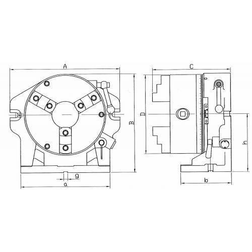 Dělicí hlava vodorovná/svislá se soustružnickým sklíčidlem Ø 310