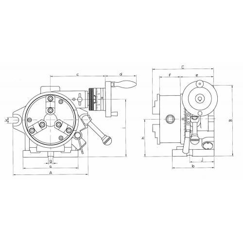 Dělicí hlava sklíčem, vodorovná/svislá, se soustružnickým sklíčidlem Ø 165